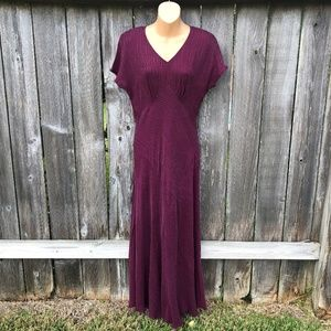 Carole Little Vintage Burgundy Rayon Maxi Dress